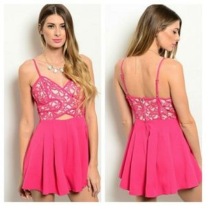 Hot Pink Fashion Romper with Broad Pleats